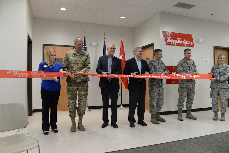From left to right Megan Edwardson, Representative for Senator Heitkamp, Maj. Gen. Al Dohrmann, the N.D. Adjutant General, Kevin Cramer, US Congressman, Sen. John Hoeven, Col. Britt Hatley, the 119th Wing commander,