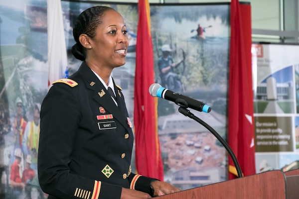 Col. Antoinette Gant addresses attendees at the change of command ceremony held July 27, 2017, at the Muhammad Ali Center, Louisville, Ky.
