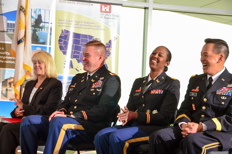 Pictured during the change of command ceremony are (left to right), Linda Murphy, Louisville District deputy district engineer; Col. Christopher Beck, former Louisville District commander; Col. Antoinette Gant, Louisville District commander; and Brig. Gen. Mark Toy, Great Lakes and Ohio River Division commander.