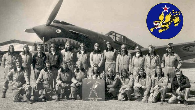 The American Volunteer Group Flying Tigers with their P-40 Warhawk aircraft in the early 1940s.
