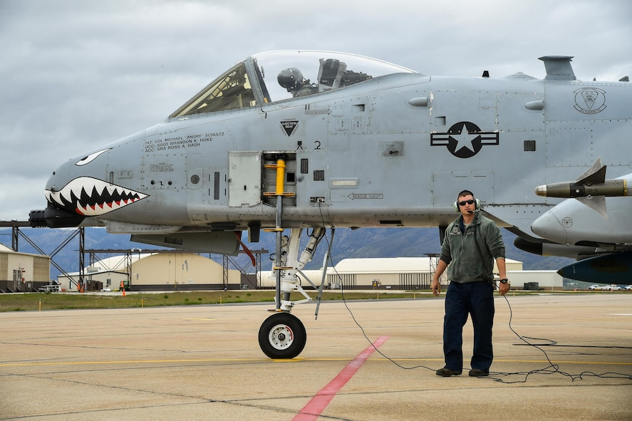Staff Sgt. Brandon Hoke, an A-10 Thunderbolt II crew chief assigned to Moody Air Force Base, Georgia, prepare for flight May 2 at Hill AFB, Utah.