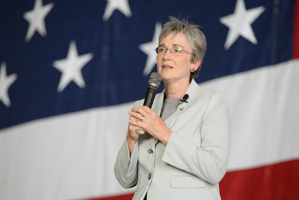 Secretary of the Air Force Heather Wilson addresses Airmen assigned to the 55th Wing during the SecAF town hall at Offutt Air Force Base, Neb., Sept. 22, 2017.