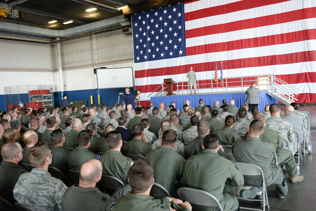 Col. Michael Manion, 55th Wing commander, provides opening remarks during the Secretary of the Air Force town hall at Offutt Air Force Base, Neb., Sept. 22, 2017.
