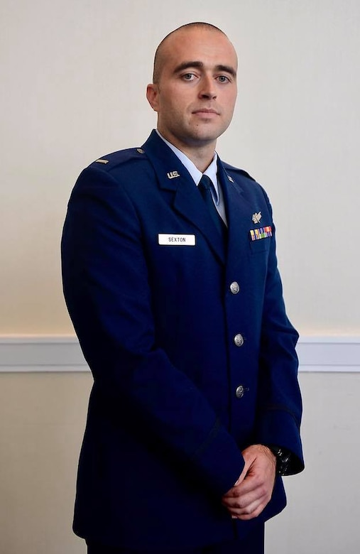 First Lt. Brandon Sexton, 7th Space Operations Squadron, poses for a photo in his uniform while attending the Air, Space & Cyber Conference on Tuesday, Sep. 19, 2017.