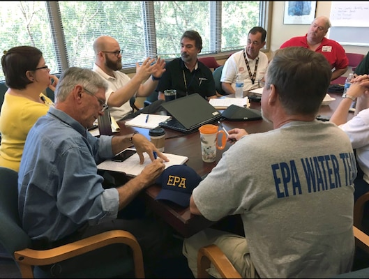 U.S. Army Corps of Engineers, Mobile District, Water Expert Mark Crawford meets with members from partner agencies to discuss Florida area support efforts in the wake of Hurricane Irma. Crawford was prepositioned in the area Sept. 7, prior to the storm.