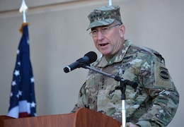 Gen. Robert Abrams, commanding general, U.S. Army Forces Command, speaks to the audience during a Sept. 21 ribbon-cutting ceremony for the new Weed Army Community Hospital at Fort Irwin, California.