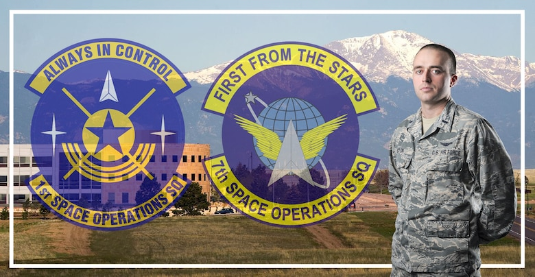 First Lt. Brandon Sexton shown in front of Schriever AFB with patches representing his time at the 1st Space Operations Squadron and his recent induction into the Air Force Reserve at the 7th Space Operations Squadron