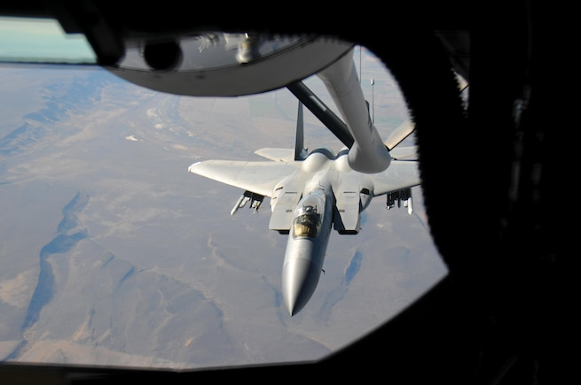 KC-135 Stratotanker refuels F-15 Eagle