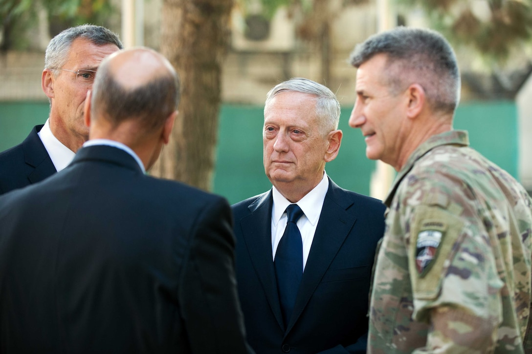Defense Secretary Jim Mattis speaks to military and NATO leaders.