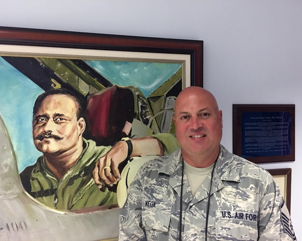 Master Sgt. Jaime Vega, who works in the command post, sits in the operations building at Muniz Air National Guard Base, Puerto Rico to tell his story. He is one of hundreds of local Air National Guard personnel who showed up at the base, seeking to service his community in the aftermath of Hurricane Maria, which hit Puerto Rico on Sept. 20, 2017. (U.S. Air National Guard photo by Tech. Sgt. Dan Heaton)