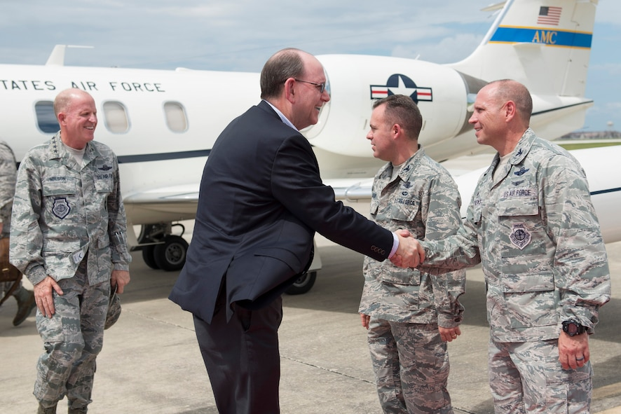 On Sept. 20, 2017, the Honorable Matthew P. Donovan, the Under Secretary of the Air Force shakes Col. Kurt Matthews, 920th Rescue Wing commander upon arrival to Patrick Air Force Base, Florida. He and General Stephen W. Wilson, the Vice Chief of Staff of the U.S. Air Force, thanked several hundred 920th RQW for their relief efforts after two major hurricanes battered Texas then Florida, back-to-back. The 920th RQW sent a contingent of 95 wing Airmen and 5 rescue aircraft to conduct rescues from Eastern Airport, College Station, Texas August 27, 2017. With little time to spare, the 920th begin responding to Texans in need within 45 minutes of their arrival. A week later they were getting ready to do the same thing at home in response to Hurricane Irma. (U.S. Air Force photo/Matthew Jurgens)