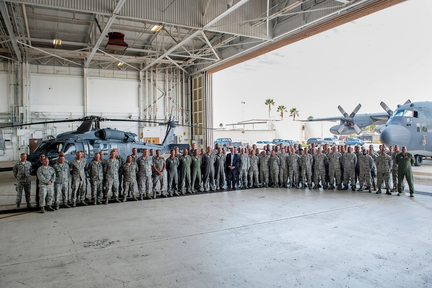 On Sept. 20, 2017, the Honorable Matthew P. Donovan, the Under Secretary of the Air Force and General Stephen W. Wilson, the Vice Chief of Staff of the U.S. Air Force, thanked several hundred 920th Rescue Wing Airmen in an aircraft hangar at Patrick Air Force Base, Florida, thanking them for their relief efforts after two major hurricanes battered Texas then Florida, back-to-back. The 920th RQW sent a contingent of 95 wing Airmen and 5 rescue aircraft to conduct rescues from Eastern Airport, College Station, Texas August 27, 2017. With little time to spare, the 920th begin responding to Texans in need within 45 minutes of their arrival. A week later they were getting ready to do the same thing at home in response to Hurricane Irma. (U.S. Air Force photo/Matthew Jurgens)