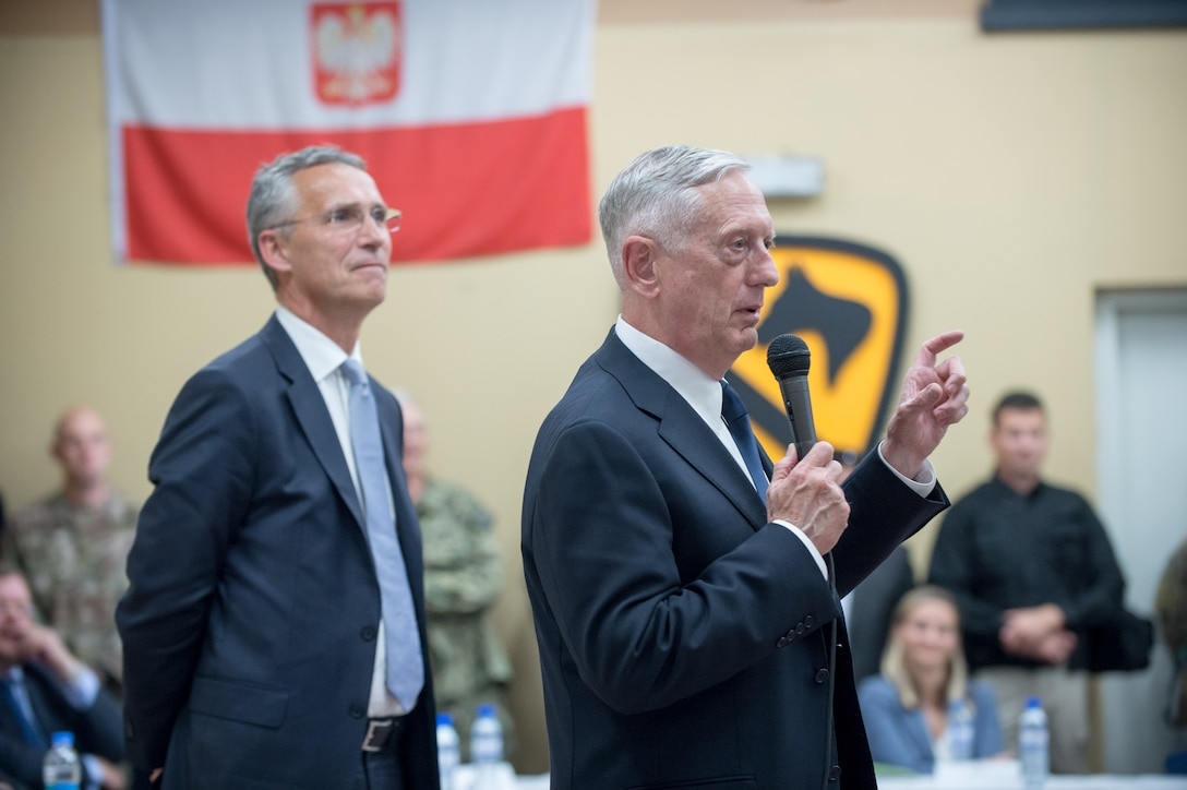 Defense Secretary Jim Mattis speaks with troops in Afghanistan.