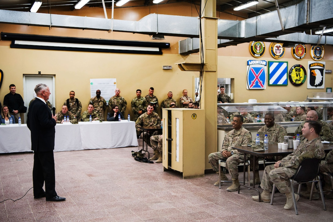 Defense Secretary Jim Mattis speaks to troops.