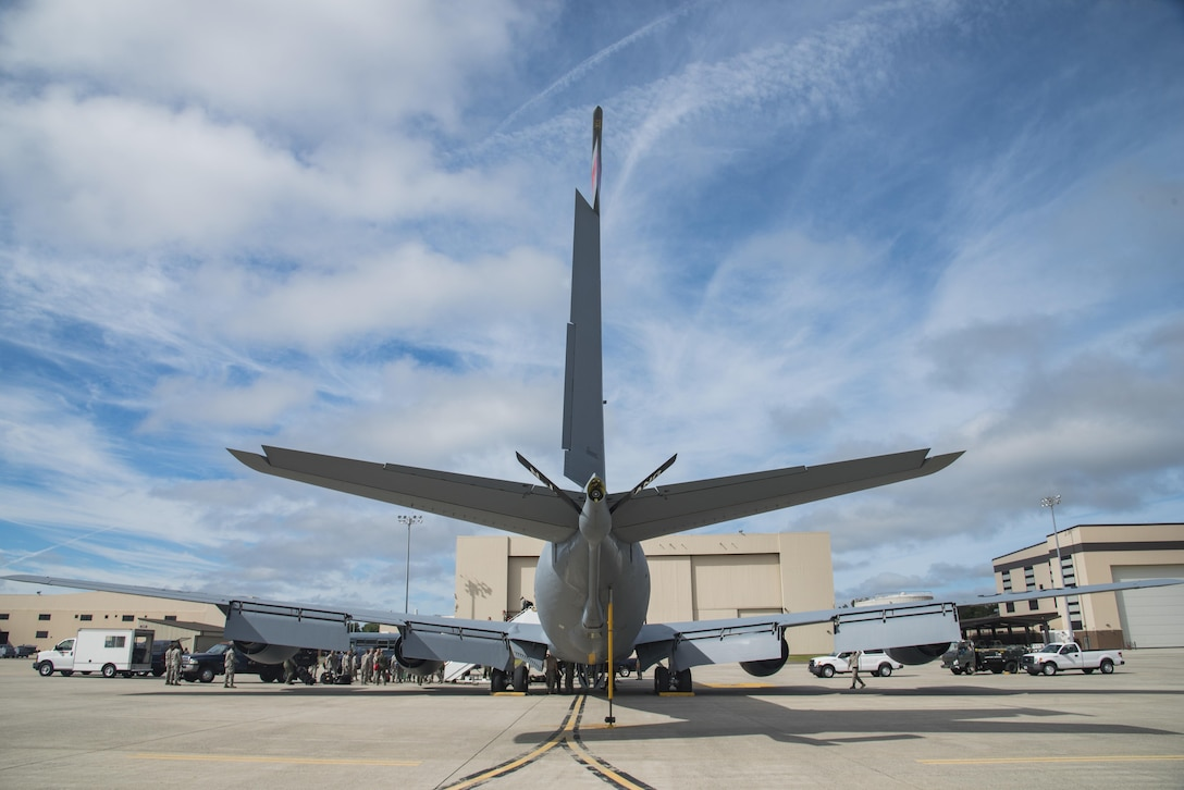 An Air National Guard KC-135 Stratotanker sits parked on the tarmac immediately after landing on the flight line at Joint Base McGuire-Dix-Lakehurst, N.J., Sept. 26, 2017. The tanker, its crew from the 141st Air Refueling Squadron, and 108th Airmen return from supporting the ongoing refueling mission at Andersen Air Force Base, Guam. (U.S. Air National Guard photo by Staff Sgt. Ross A. Whitley/Released)