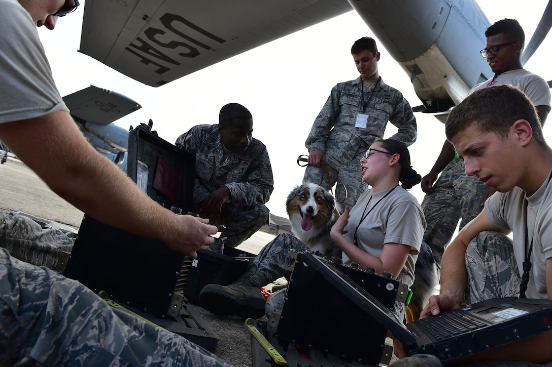 Chaplain Capt. Eglon Angel, 19th Airlift Wing chaplain, and Staff Sgt. Kolton Rottinghaus, 19th Airlift Wing NCO in charge of plans and programs, engaged members of the 19th Maintenance Squadron Sept. 22, 2017, at Little Rock Air Force Base, Ark. Chapel staff regularly visit different squadrons to get a better idea of any obstacles Airmen may be facing. (U.S. Air Force photo by Airman Rhett Isbell)