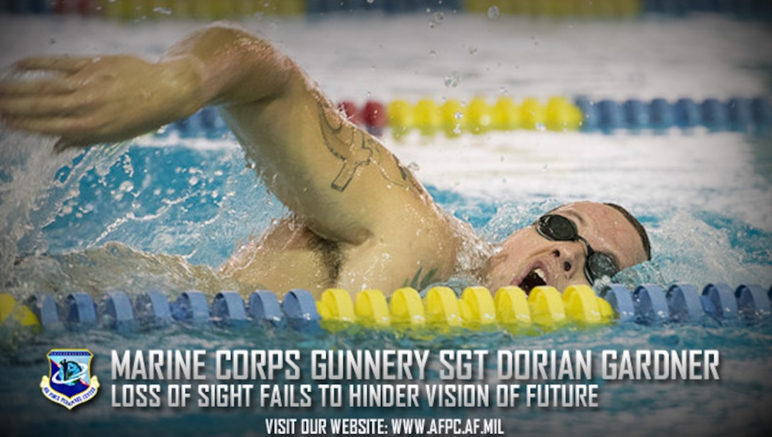 U.S. Marine Corps Gunnery Sgt. Dorian Gardner, training and operations chief with the Headquarters U.S. Marine Corps Training Command Public Affairs office, practices his starts during swimming practice for the 2017 Invictus Games in Toronto, Canada, Sept. 22, 2017. The Invictus Games were established by Prince Harry of Wales in 2014, and have brought together wounded and injured veterans from 17 nations to compete across 12 adaptive sporting events. (U.S. Army photo by Pfc. Seara Marcsis)