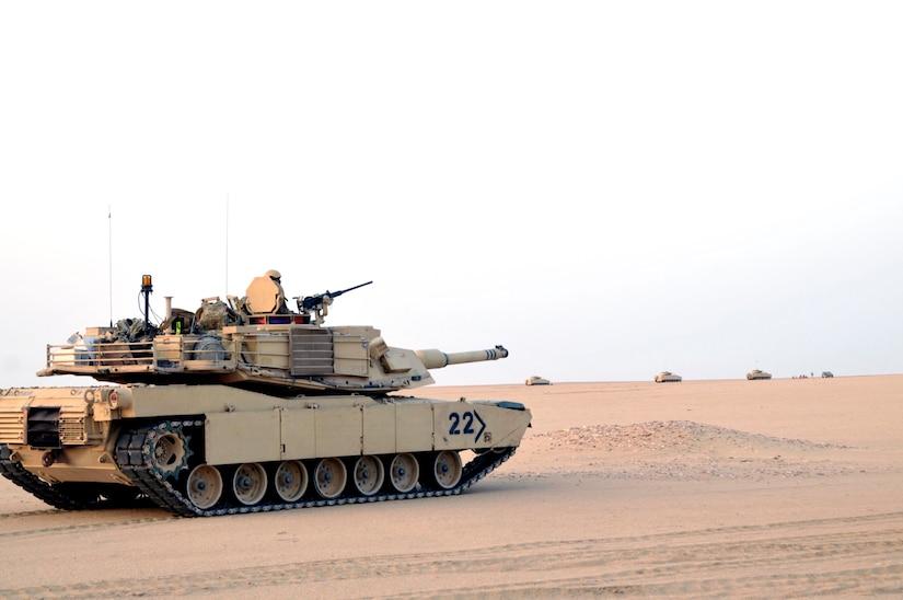 Battle tank in the desert.