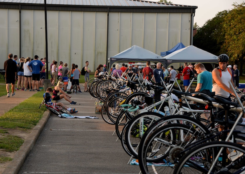 Participants prepare for a triathlon Sept. 23, 2017, on Columbus Air Force Base, Mississippi. The 14th Force Support Squadron hosted the event to promote fitness for Airmen and their families. (U.S. Air Force photo by Airman 1st Class Keith Holcomb)
