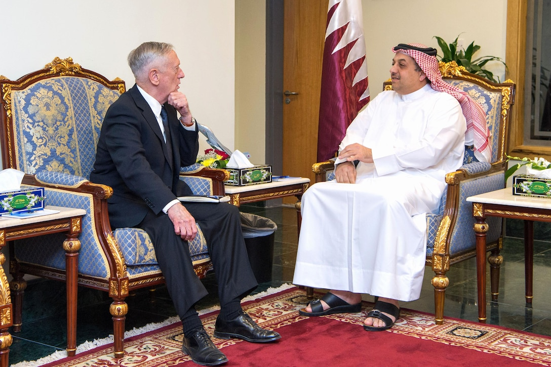 Defense Secretary Jim Mattis meets with Qatar's Defense Minister.