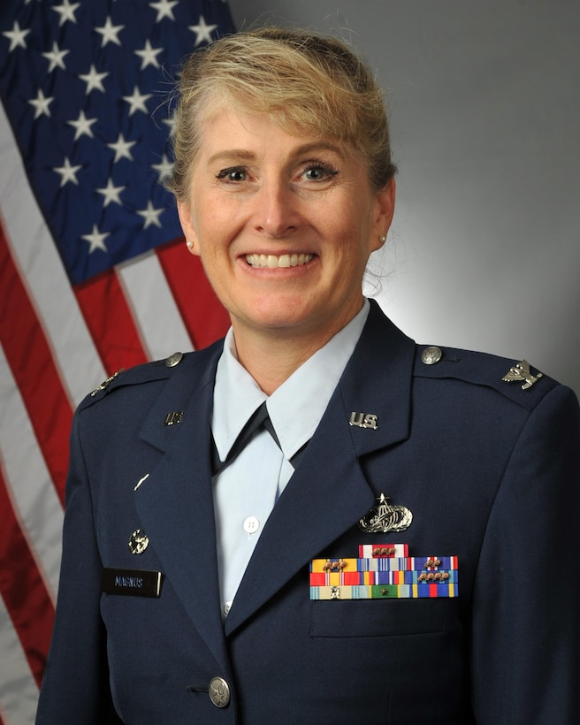 Colonel Karen Magnus is commander of the 439th Mission Support Group, Westover Air Reserve Base, Mass.