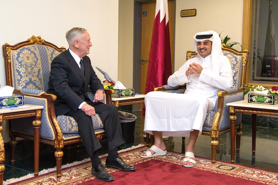 Defense Secretary Jim Mattis meets with Qatar's Emir