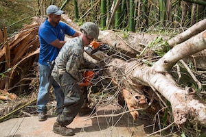 A Marine and resident work together to clear the main road.