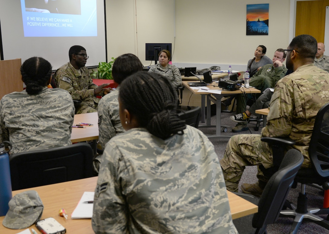 U.S. Air Force Airman 1st Class Dabel Brutus, 352nd Special Operations Support Squadron cyber operations systems technician, shares a personal story, Sept. 26, 2017, at the Meaning and Purpose Symposium hosted at the Square-D Center for Character and Culture on RAF Mildenhall, England. Speakers shared their experiences with hardships, which led to positive outcomes or a change in perspective. (U.S. Air Force photo by Senior Airman Justine Rho)