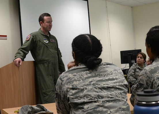 U.S. Air Force Col. David Lenderman, 100th Air Refueling Wing vice commander, shares stories from his military career, Sept. 26, 2017, at the Meaning and Purpose Symposium hosted at the Square-D Center for Character and Culture on RAF Mildenhall, England. The forum emphasized the value of self-worth and resiliency. (U.S. Air Force photo by Senior Airman Justine Rho)