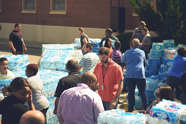 DLA Aviation employees load water donated for Florida victims of Hurricane Irma
