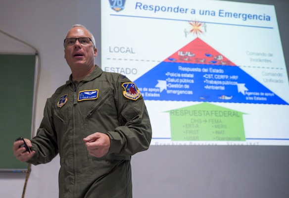 U.S. Air Force Col. Julio Lairet, Georgia Air National Guard State Air Surgeon, leads an emergency response briefing during a senior leader engagement as part of the Department of Defense State Partnership Program Sep. 20 at the National Institute of Aeronautical and Space Medicine, Argentina.