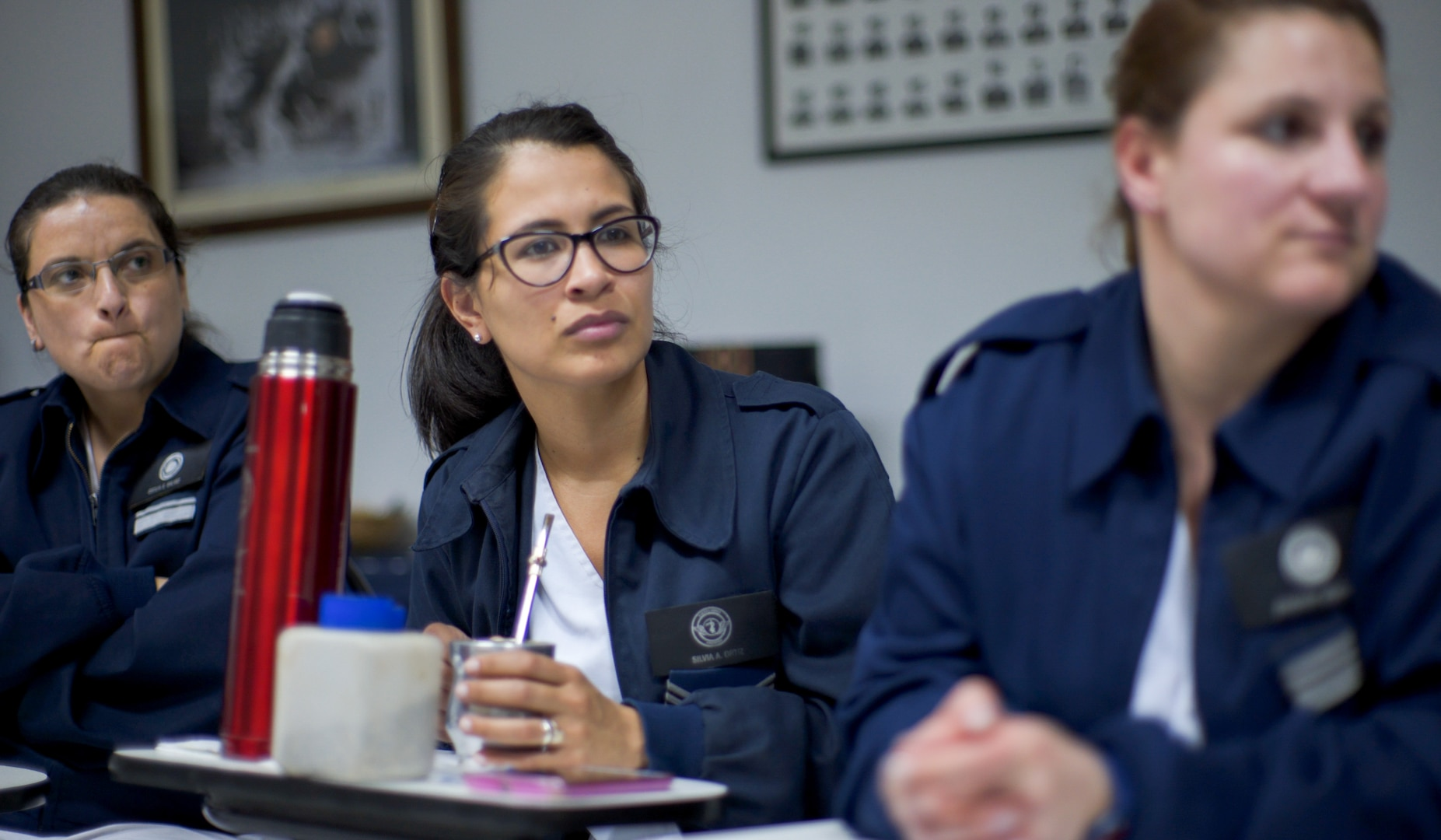 Members of the Argentinian air force medical service participate in a group discussion during a senior leader engagement as part of the Department of Defense State Partnership Program Sep. 20 at the National Institute of Aeronautical and Space Medicine, Argentina.