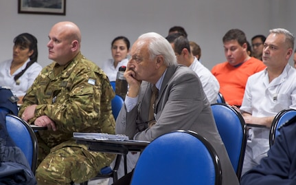 Members of the Argentinian air force medical service attend a breifing during a senior leader engagement as part of the Department of Defense State Partnership Program Sep. 20 at the National Institute of Aeronautical and Space Medicine, Argentina.