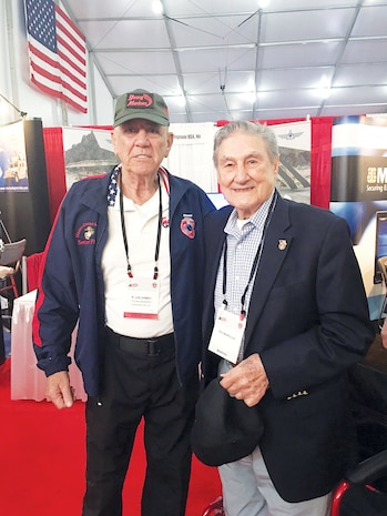 """The famous Marine""""Gunny"""" R. Lee Ermey meets with Marine WWII veteran Theordore Marolda Sr. at the recent Modern Day Marine Military Exposition."""