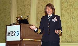 Navy Vice Adm. (Dr.) Raquel Bono, the director of the Defense Health Agency, speaks at the Healthcare Information and Management System Society