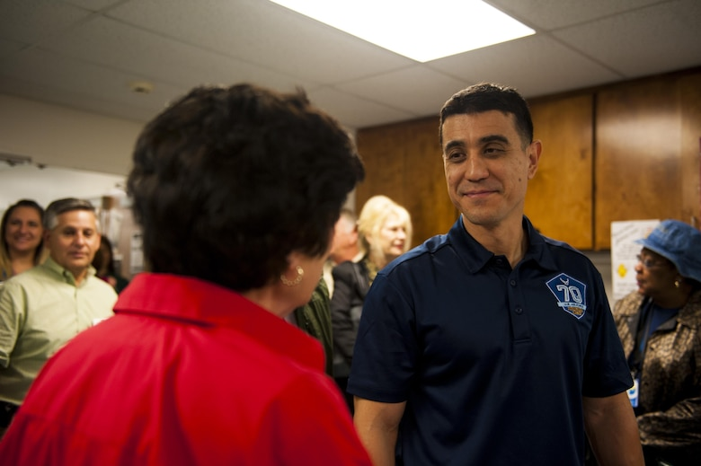U.S. Air Force Col. Ricky Mills, 17th Training Wing commander, speaks with Meals for the Elderly staff at the Meals for the Elderly center San Angelo, Texas, Sept. 27, 2017. Meals for the Elderly is a private, non-profit charitable organization devoted to serving the homebound elderly of San Angelo by delivering a warm meal to those enrolled in the program. (U.S. Air Force Photo by Senior Airman Scott Jackson/Released)