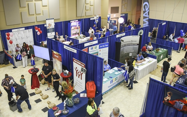 Local exhibitors, from a variety of San Angelo businesses, showcase their organizations at the McNease Convention Center in San Angelo, Texas, Sept. 27, 2017. The San Angelo Chamber of Commerce held its 26th business expo representing companies in a large range of services from healthcare to technology. (U.S. Air Force photo by Airman Zachary Chapman/Released)