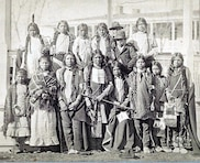 A group photo taken in the late 1800s shows Arapaho and Shoshone Indian children shortly after arriving at Carlisle Indian Industrial School in Pennsylvania.