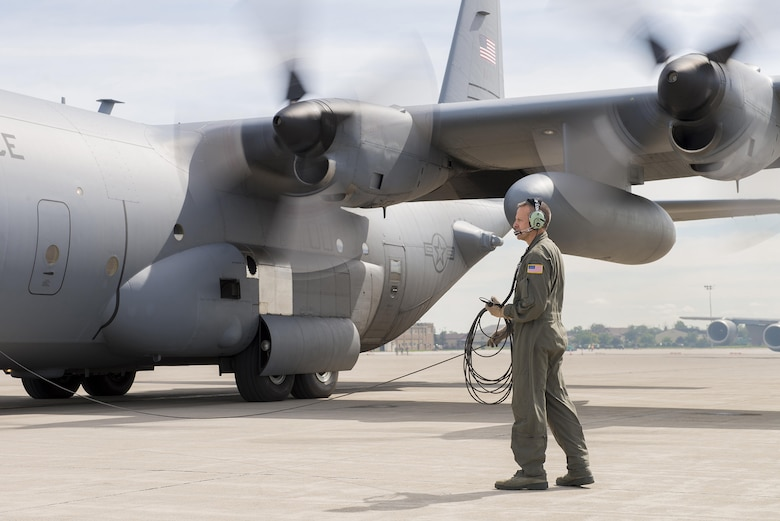 Senior Master Sgt. Eric Hady, 328th Air Refueling Squadron, prepares for the final departure of the last remaining C-130 Hercules from Niagara Falls Air Reserve Station, New York, July 26. (Tech. Sgt. Steph Sawyer)