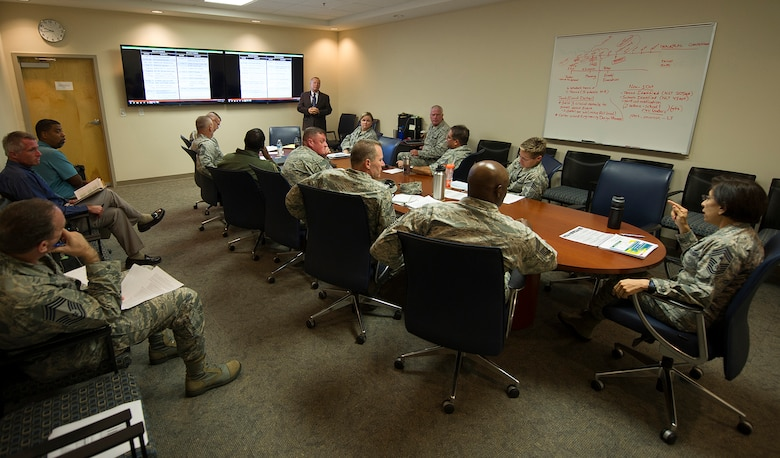 Chief Master Sgt. Ericka Kelly, right, Air Force Reserve Command's command chief master sergeant, leads the discussion at a recent Enlisted Force Structure Review meeting. (Master Sgt. Stephen Schester)