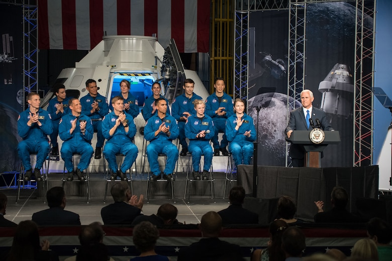 On June 7, Hines joined the stage with 11 other classmates at the Johnson Space Center for the public announcement of those selected for the 2017 astronaut candidate class. Vice President Mike Pence participated in the event and gave some remarks to welcome the nation's next astronaut candidates. (Photo courtesy of NASA)
