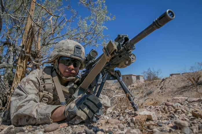 U.S. Marine Corps Lance Cpl. Alfredo Sandoval, an infantry Marine with Kilo Company, 3rd Battalion, 1st Marines, holds security for a rehearsal raid during Weapons and Tactics Instructors Course 1-18 at Yuma, Ariz., on Sept. 27, 2017. WTI is a seven week training event hosted by Marine Aviation and Weapons Tactics Squadron One cadre which emphasizes operational integration of the six functions of Marine Corps Aviation in support of a Marine Air Ground Task Force. MAWTS-1 provides standardized advanced tactical training and certification of unit instructor qualifications to support Marine Aviation Training and Readiness and assists in developing and employing aviation weapons and tactics.