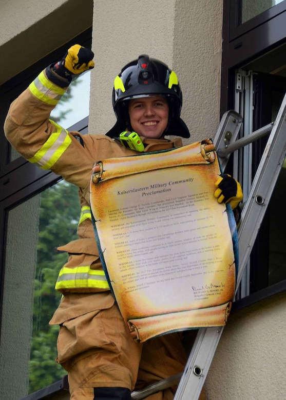 """This year's Fire Prevention Week theme, """"Every second counts, plan two ways out!"""", is to encourage people to have more than one safe exit during a fire incident. (U.S. Air Force photo by Airman 1st Class Savannah L. Waters)"""