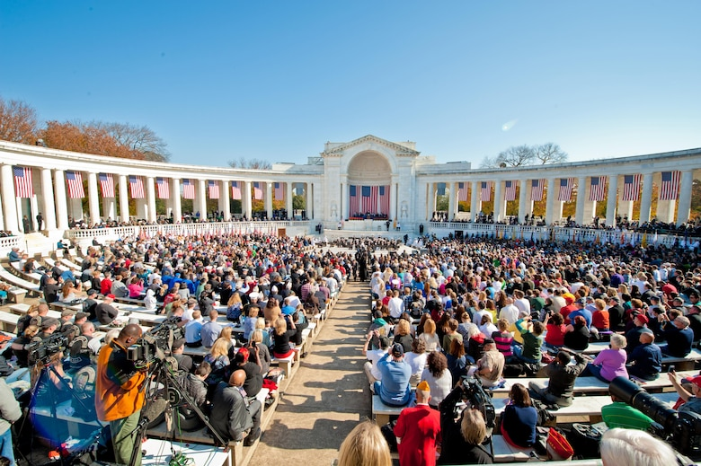 Guests fill the Memorial Amphitheater in Arlington National Cemetery, Arlington, VA in observance of Veterans Day, Nov. 11, 2012 (U.S. Army Photo by Spc. Lance Philpot/Released)