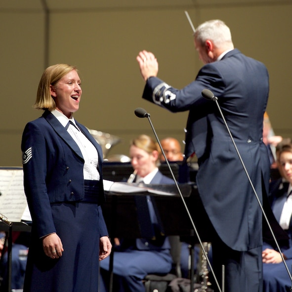 Technical Sgt. Mandy Harper performs as a tour soloist with the Concert Band (U.S. Air Force Photo by CMSgt Bob Kamholz)