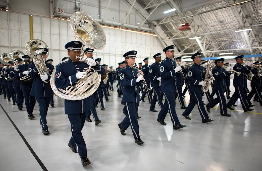 Members of the Concert Band, Ceremonial Brass and Airmen of Note collaborate in a rehearsal at Joint Base Andrews for the 2017 Macy's Thanksgiving Day Parade (U.S. Air Force Photo by CMSgt Bob Kamholz)