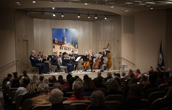 Members of the Air Force Strings perform at George Washington's Mount Vernon during a Veteran's Day observance (U.S. Air Force Photo by CMSgt Kevin Burns)