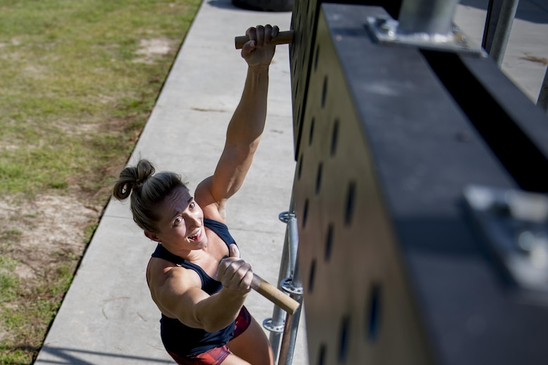 Capt. Abby Wilkins, an Alpha Warrior competitor and qualifier for the regional competition, navigates an obstacle during a qualifying run through an Alpha Warrior battle rig, Sept. 27, 2017, at Moody Air Force Base, Ga. The Alpha Warrior program was adopted by the Air Force in support of the Comprehensive Airmen Fitness pillars: mental, social, physical and spiritual. (U.S. Air Force photo by Airman 1st Class Daniel Snider)