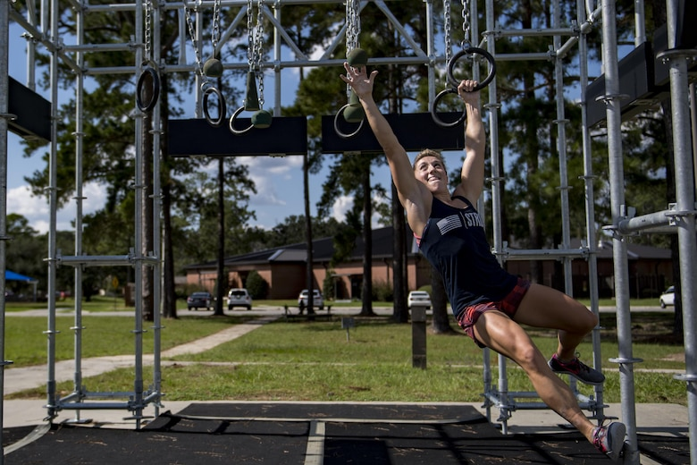 Capt. Abby Wilkins, an Alpha Warrior competitor and qualifier for the regional competition, navigates the final obstacle during a qualifying run through an Alpha Warrior battle rig, Sept. 27, 2017, at Moody Air Force Base, Ga. The Alpha Warrior program was adopted by the Air Force in support of the Comprehensive Airmen Fitness pillars: mental, social, physical and spiritual. (U.S. Air Force photo by Airman 1st Class Daniel Snider)