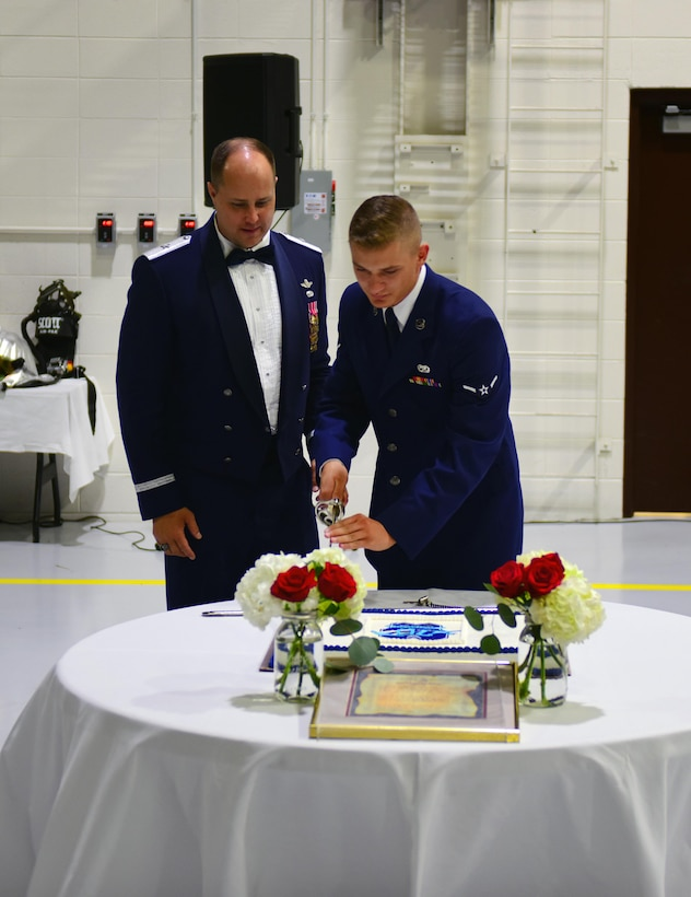 Members of Team Whiteman gather to commemorate the 70th anniversary of the U.S. Air Force at Whiteman Air Force Base, Mo., Sept. 23, 2017.